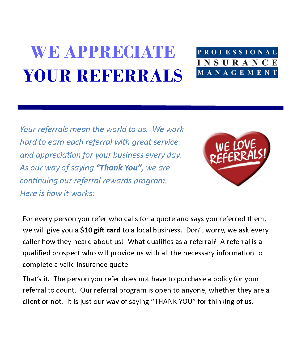 Business card referral quotes image collections card for Referral quotes for business cards